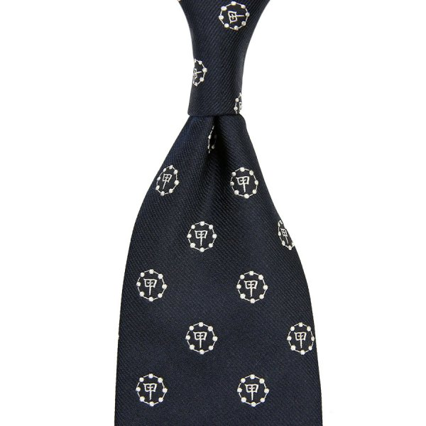 Gion Crest Jacquard Silk Tie - Navy - Hand-Rolled
