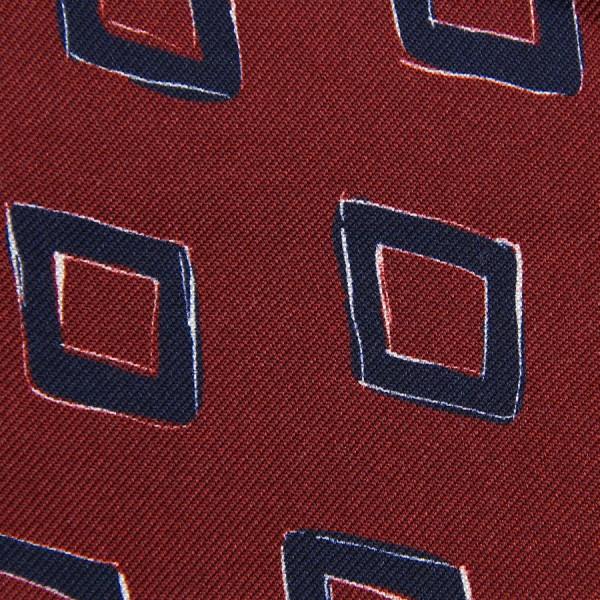 Vintage Printed Silk Bespoke Tie - Burgundy