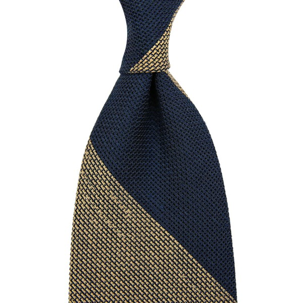 Block Stripe Grenadine / Garza Piccola Linen / Silk Tie - Navy / Oatmeal