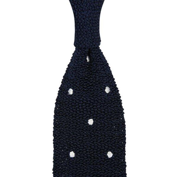Crunchy Silk Knit Tie - Navy / White Dots