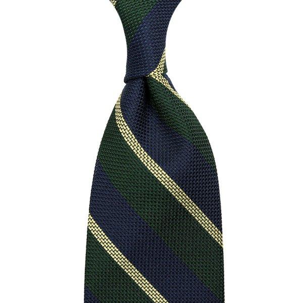 Striped Grenadine / Garza Piccola Silk Tie - Navy / Forest / Yellow