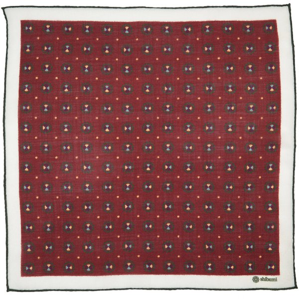 Floral Printed Cashmere Pocket Square - Burgundy - 43 x 43cm