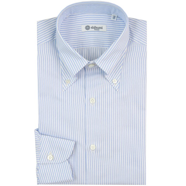 Oxford Button Down Shirt - White / Light Blue - University Stripe - Regular Fit
