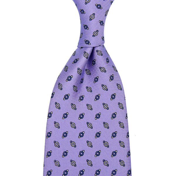 Floral Printed Silk Tie - Lilac - Self-Tipped