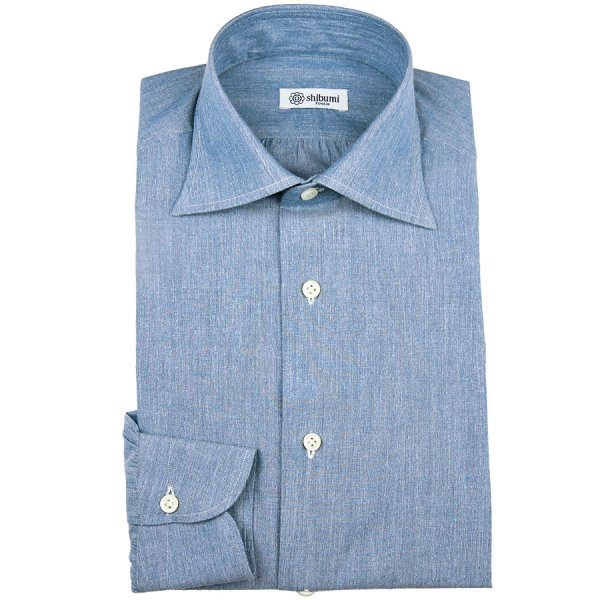 Carlo Riva Soft Denim Poplin Shirt - Light Blue - Semi Spread