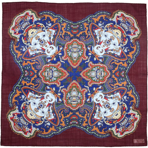 Printed Wool / Silk Neckerchief - Burgundy - 60x60cm