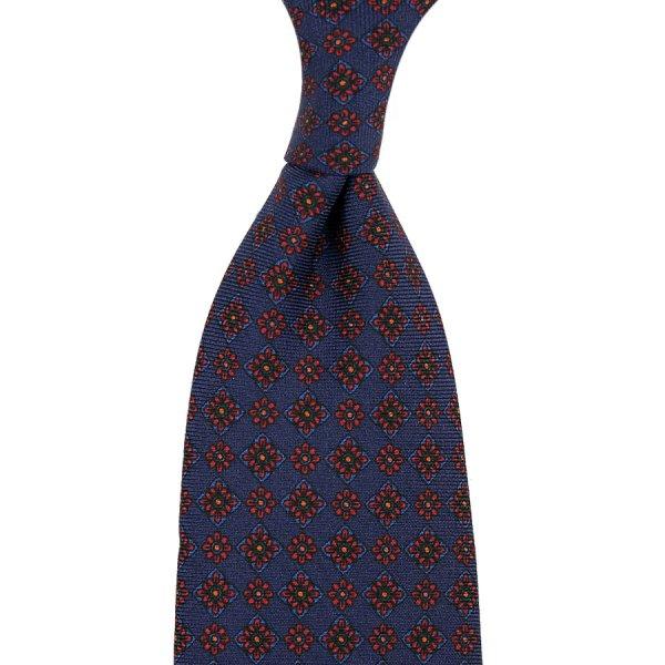 Ancient Madder Silk Tie - Navy X - Hand-Rolled