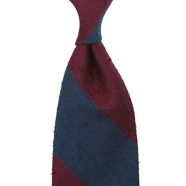 Block Stripe Shantung Silk Tie - Navy / Burgundy - Hand-Rolled