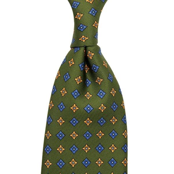 50oz Floral Printed Silk Tie - Olive - Hand-Rolled