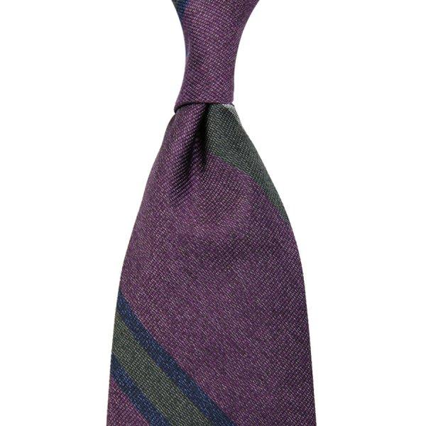 Mottled Repp Stripe Silk Tie - Eggplant - Hand-Rolled