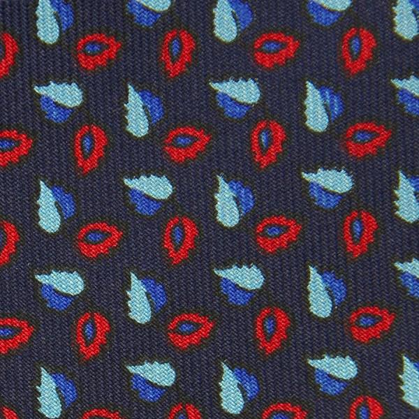 Geometrical Printed Bespoke Silk Tie - Navy