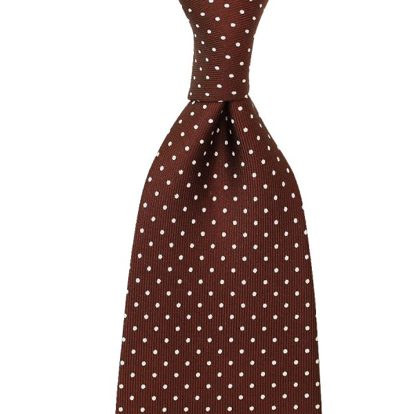 Dotted Printed Silk Tie - Brown - Handrolled
