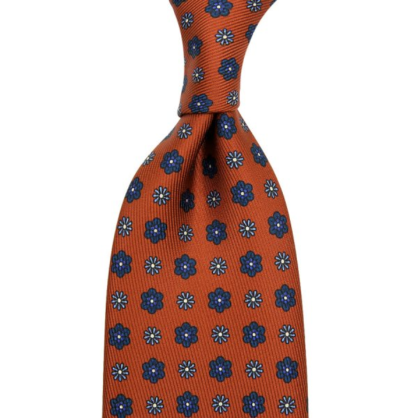 50oz Floral Printed Silk Tie - Rust - Hand-Rolled
