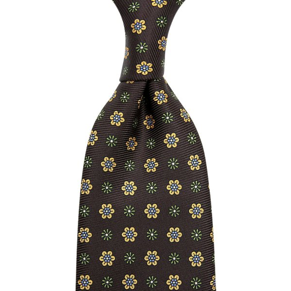50oz Floral Printed Silk Tie - Chocolate - Hand-Rolled