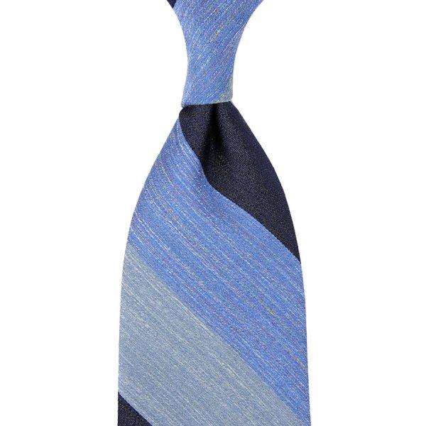 Triple Block Stripe Silk / Linen Tie - Navy / Blue / Sky