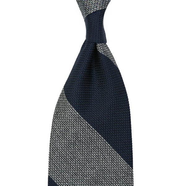 Block Stripe Grenadine / Garza Piccola Silk Tie - Navy / Grey Mottled