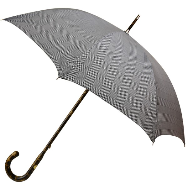Grey Glencheck Umbrella - Hickory