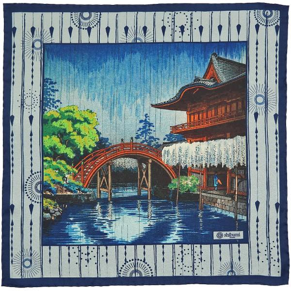 Ukiyo-e Silk Pocket Square - Harushigure - Handrolled - 40 x 40cm