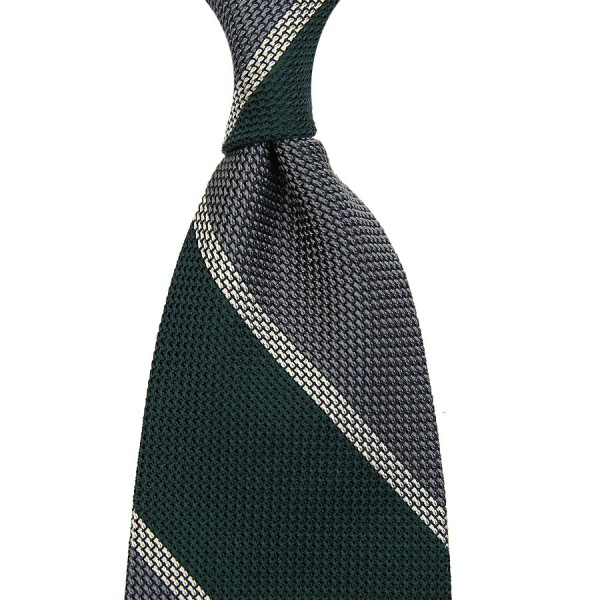 Block Stripe Grenadine / Garza Piccola Silk Tie - Forest / Grey / White