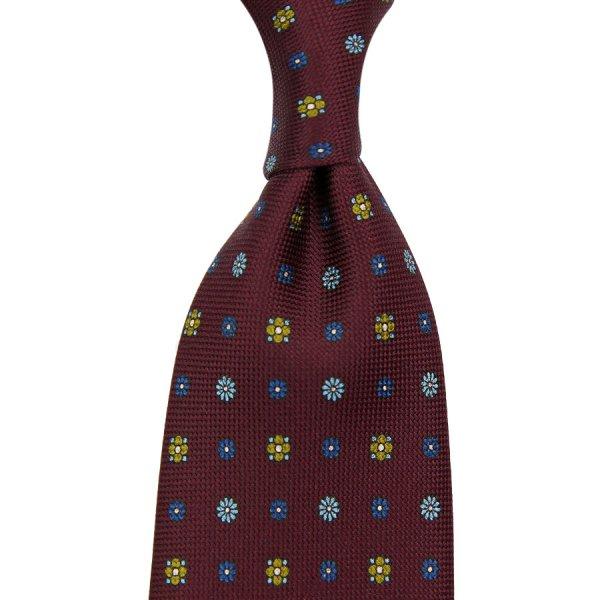 Panama Printed Silk Tie - Burgundy - Hand-Rolled