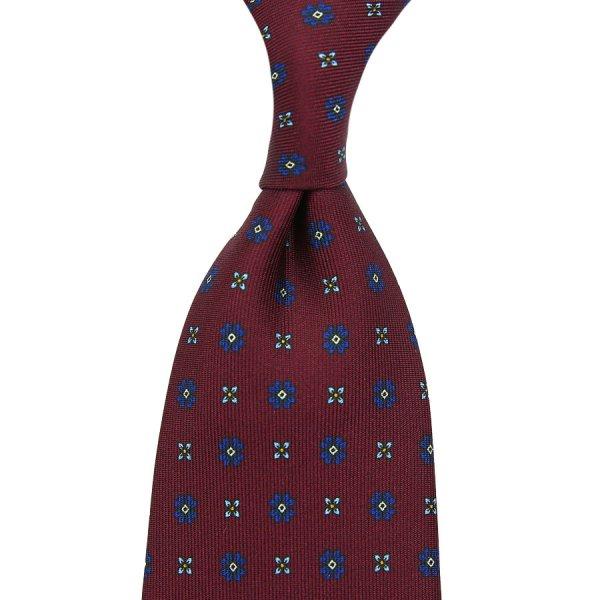 Floral Printed Silk Tie - Burgundy II - Self-Tipped