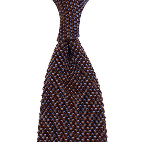 Birdseye Knit Tie - Brown / Blue - Silk
