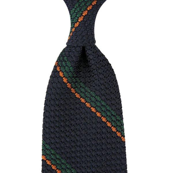 Striped Grenadine / Garza Grossa Silk Tie - Navy / Forest / Orange