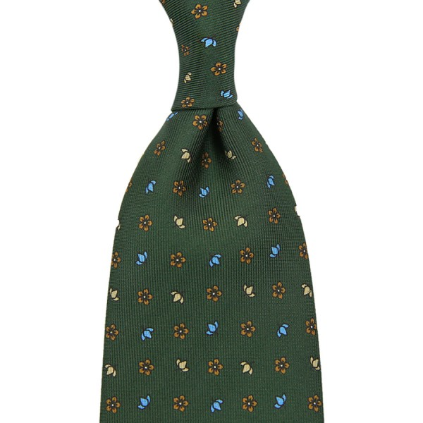 Floral Printed Silk Tie - Olive III - Hand-Rolled