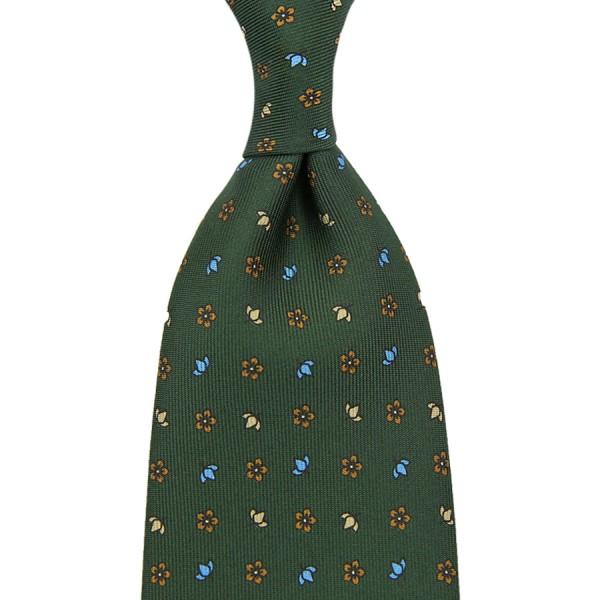 Floral Printed Silk Tie - Olive III - Hand-Rolled