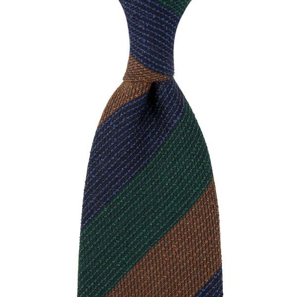Triple Block Stripe Wool Tie - Navy / Forest / Copper