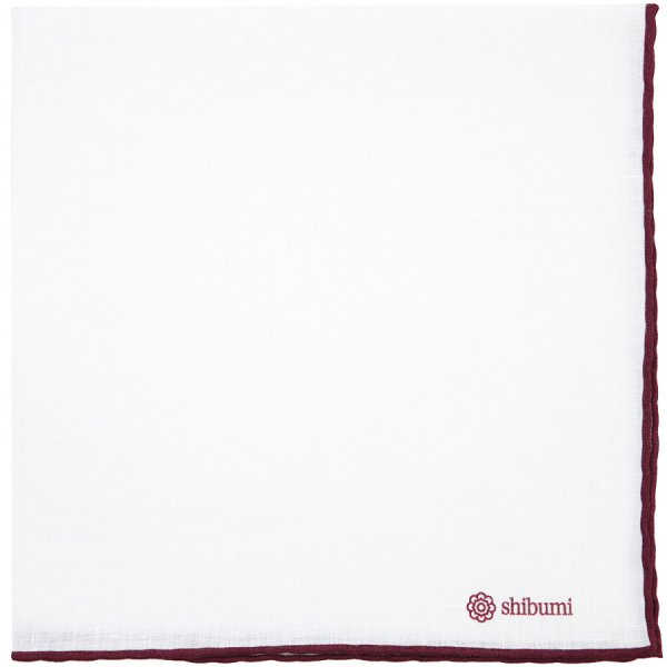 Irish Linen Shoestring Pocket Square - White / Burgundy - 43 x 43cm