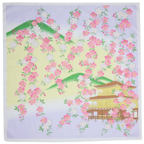 Kyoto Motif Cotton Handkerchief - Cream I