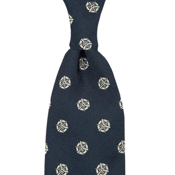 Kyoto Crest Silk Tie - Navy - Handrolled