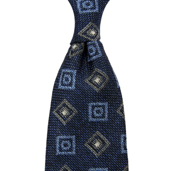 Geometrical Silk / Wool / Cotton Tie - Navy - Hand-Rolled