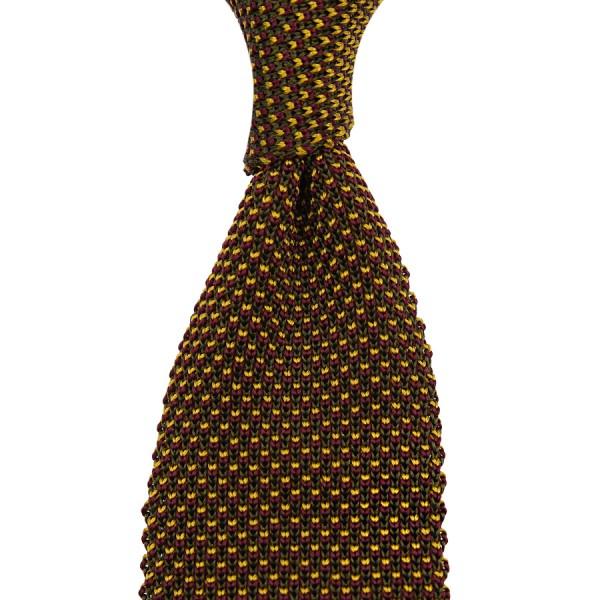 Birdseye Knit Tie - Gold - Silk
