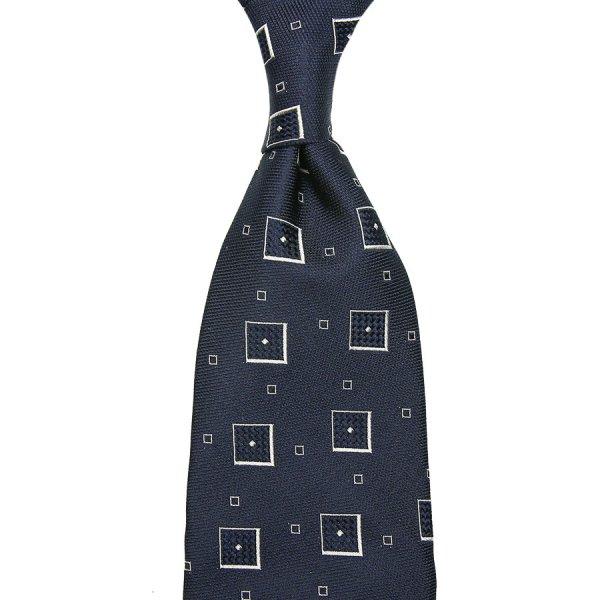 Geometrical Jacquard Silk Tie - Navy - Hand-Rolled