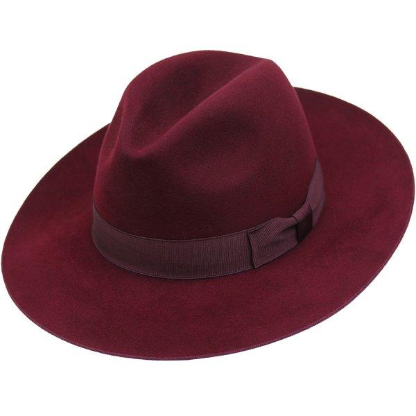 Shibumi Fedora Hat - Burgundy - Beaver Felt  09769854a93