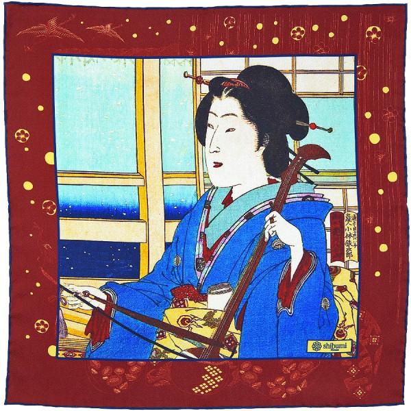 Ukiyo-e Silk Pocket Square - Huyu No Ne - Handrolled - 40 x 40cm