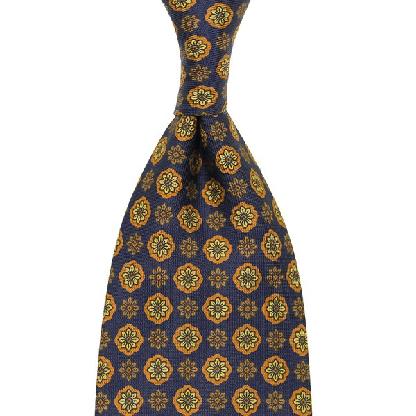Floral Printed Silk Tie - Navy IV - Hand-Rolled