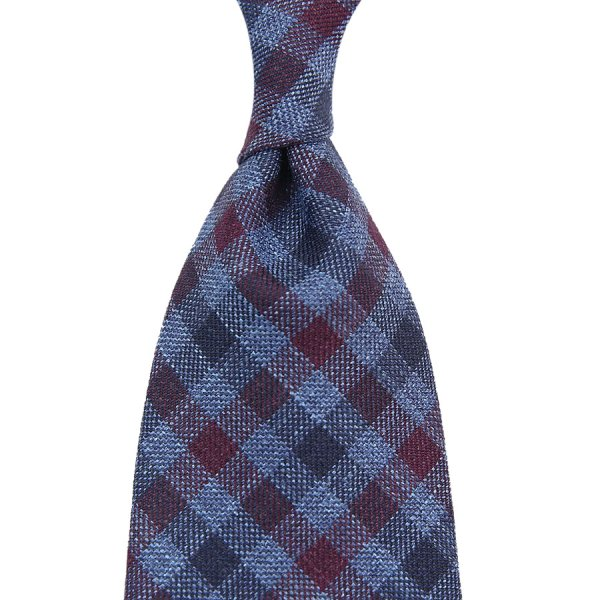Loro Piana Checked Wool / Silk / Linen Tie - Navy / Burgundy - Handrolled
