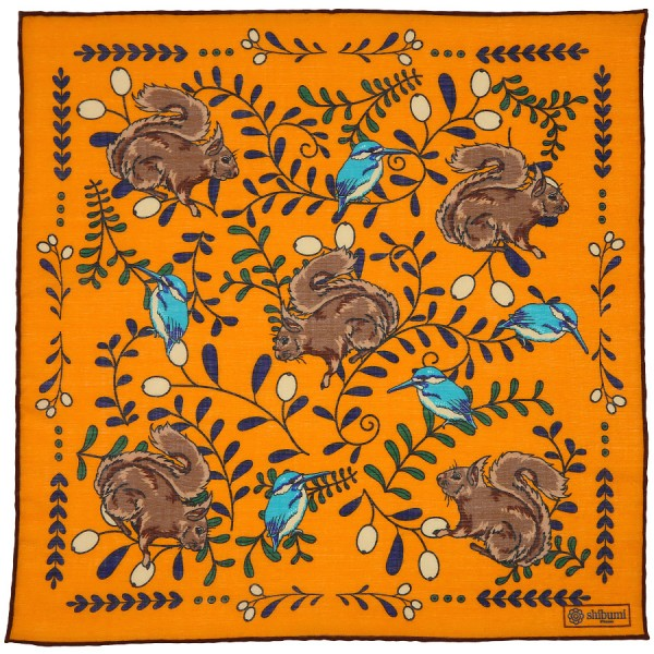 Animal Printed Wool / Silk Pocket Square - Orange - 40 x 40cm