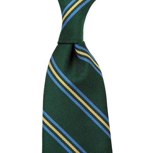 Repp Stripe Silk Tie - Forest - Hand-Rolled