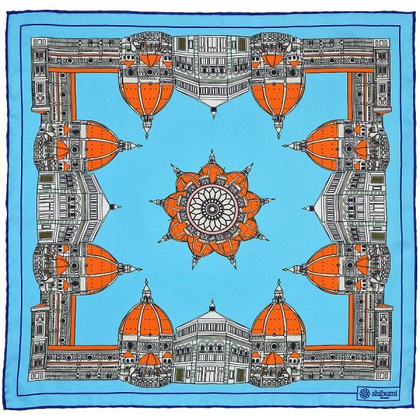 Duomo Silk Pocket Square - Sky - 40 x 40cm