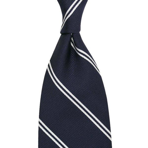 Double Bar Repp Stripe Silk Tie - Navy - Handrolled - 160cm