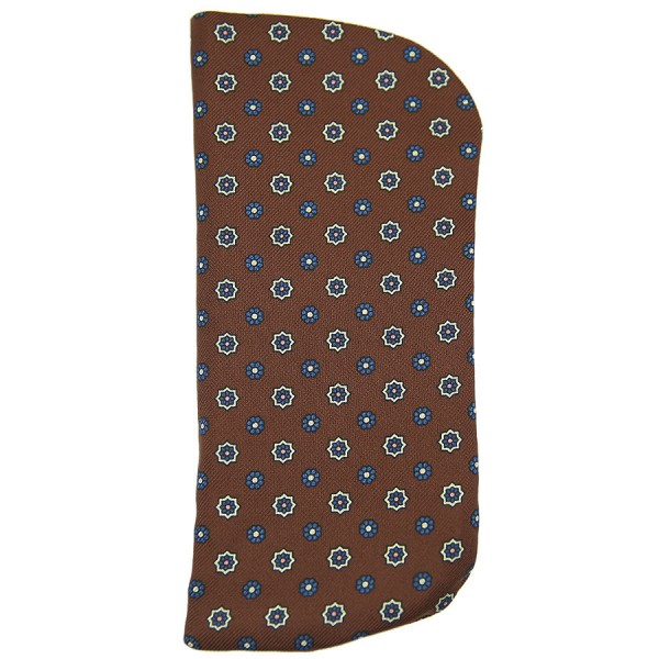 Floral Printed Silk Glasses Case - Brown