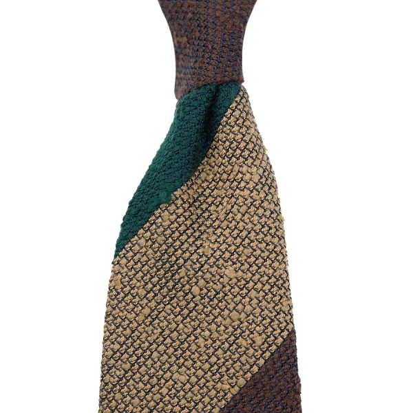 7-Fold Striped Shantung Grenadine Tie - Forest / Brown / Beige - Handrolled