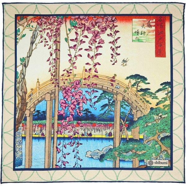 Ukiyo-e Silk Pocket Square - Taiko Bashi - Handrolled - 40 x 40cm