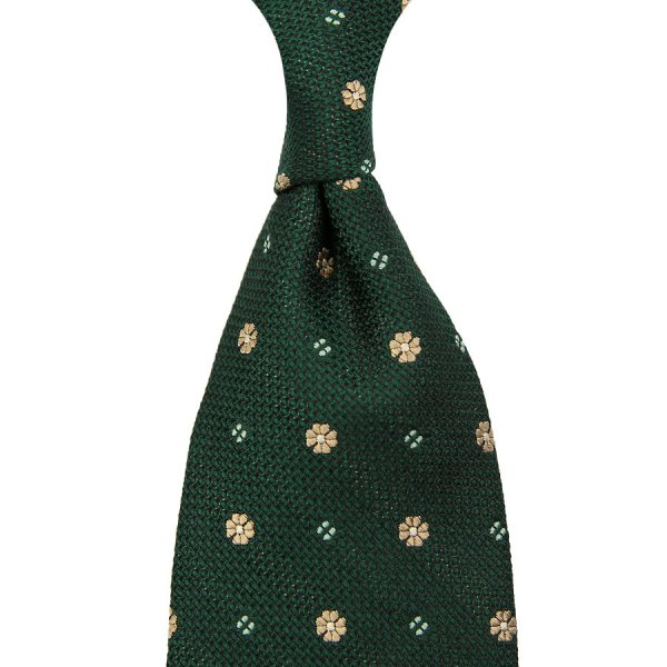 Floral Fina Grenadine Tie - Forest - Hand-Rolled