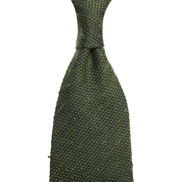 Shantung Grenadine Silk Tie - Olive - Hand-Rolled