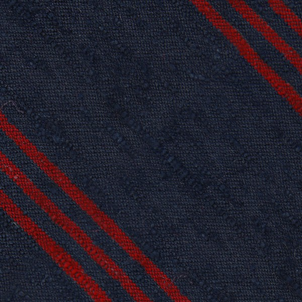 Triple Stripe Shantung Bespoke Tie - Navy / Cherry